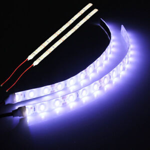 2x-White-15-LED-5630-SMD-Strip-Lights-Flexible-12V-For-Car-Boat-Caravan-VAN