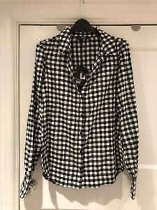 Taglia 168 S £ Gingham Plaid Bianco Camicia Paige Supersoft Denim Nero Rrp RqwaP1nR0x