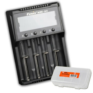 Fenix-ARE-A4-4-Slot-Battery-Charger-for-18650-amp-More-w-Bonus-Battery-Organizer