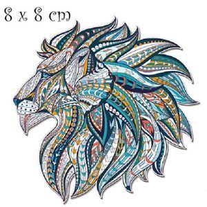 Détails Sur Patch Applique Dessin Transfert Thermocollant Tête De Lion Profil Bleu T051