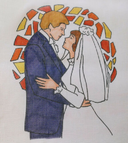 """11/"""" x 13 1//4/"""" 12 Ct BRIDE /& GROOM Needlepoint Canvas by Exclusively Arleen"""