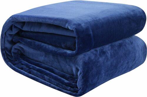 Solid Navy Blue Flannel Throw Plush Cozy Super Soft Reversible Fleece Blanket