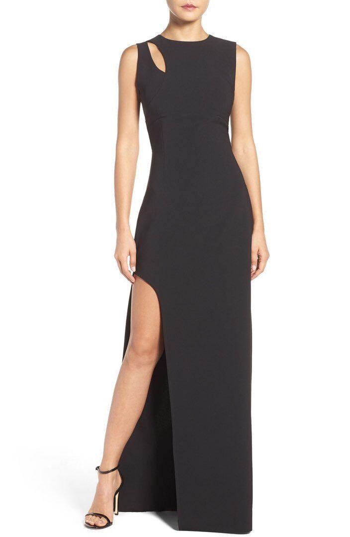 MARIA Weiß schwarz  Asymmetrical Gown (Größe 8)