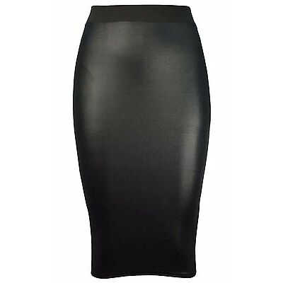 Womens Ladies Plus Size High Rise Wet Look PVC Leggings Peplum Skirt dress 16 24