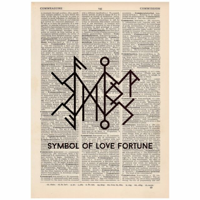 Rune Symbol Of Love And Fortune Word Art Print Ooak Quirky