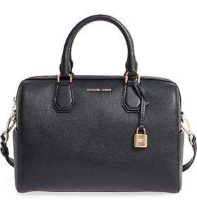 2f3cd104c0ba2 Authentic Michael Kors Mercer Medium Pebbled Leather Duffel Bag 30h6gm9u2l  Black