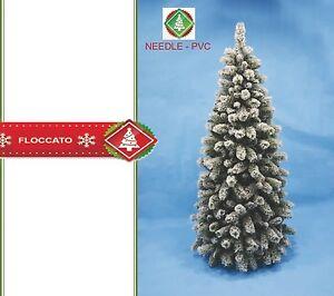Albero Di Natale H 240.Dettagli Su Albero Di Natale Slim Effetto Neve Glaciale Innevato Bianco Mis H240 Con Base