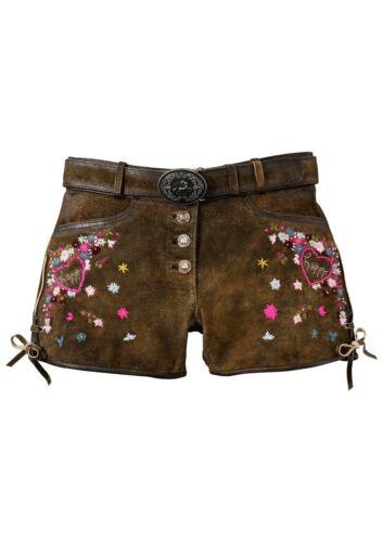 56770816 Country Line Trachten Pelle Pantaloni Breve da Donna con ricamo tg 42 NUOVO