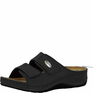 Details about Tamaris 27510 Womens Wide Fitting Black Leather Double Touch Fasten Wedge Mules
