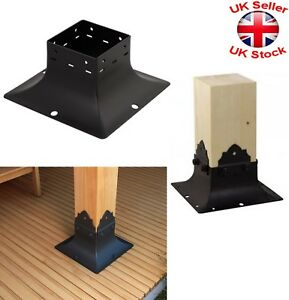 Black Decorative Square Post Fence Foot Base Pillar Cover 3 Sizes Ebay