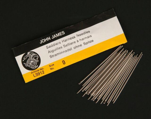 25 John James Saddlers Harness Needles (Sz #4/2/0/00/000) (Leather Sewing Blunt)