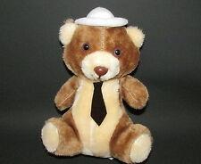 B.j. toy company vintage plush bear wearing white hat tie brown cream Korea