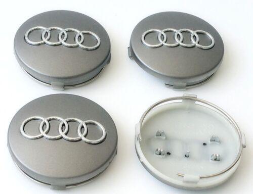 Audi Alloy Wheel Centre Caps x4 60mm Grey 4B0601170 A 1 2 3 4 5 6 8 Q RS TT a4