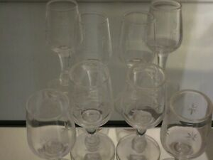 4-Vintage-Etched-Atomic-Starburst-Design-Shot-Glasses-MCM-1-25-oz-3-1-2-034-Tall