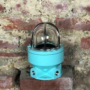 Lampe industrielle marine en métal bleu turquoise Ht 23 cm