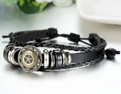 Star Charm Beads Tribal Braided Leather Multilayer Adjustable Bracelet Women Men
