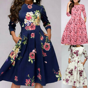 Womens-Floral-Retro-Midi-Dress-Ladies-Evening-Cocktail-Party-Formal-Prom-Gown-UK