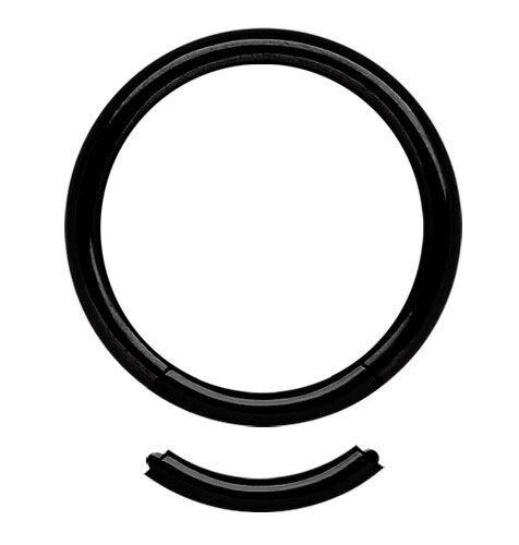 Intim Brust Piercing Schmuck Smooth Segment Ring in 1,6mm Stärke schwarz Stahl