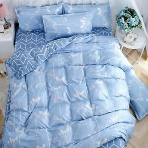 Cotton-Blend-Blue-Priting-Bedding-Set-Duvet-Cover-Sheet-Pillow-Case-Four-Piece
