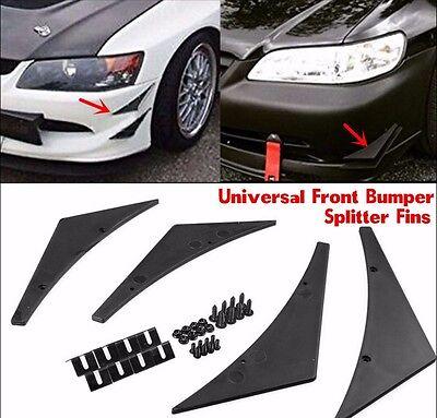 4X Universal Fit Front Lip Bumper Splitter Fins Body Spoiler Canard Valence Chin