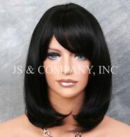 Human Hair Blend Wig Straight Face Framing Off Black Heat Safe W. Bangs 1b Pn
