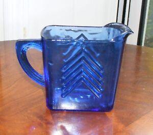 Hazel-Atlas-Chevron-Cobalt-Blue-Creamer