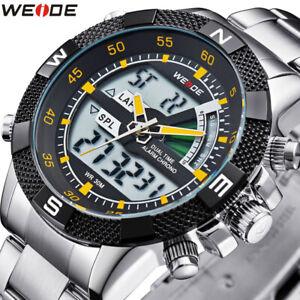 WEIDE-Men-039-s-Sport-Watch-LCD-Day-Date-Alarm-Stainless-Steel-Quartz-Wristwatches