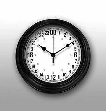 "24 Hours wall clock 8.75"" (22.2cm.) Round Black, White Face. Military Time."