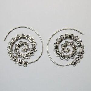 Vintage-Creolen-Silber-925-Durchzieher-Ohrringe-Spirale-Hippie-Schmuck-dts