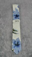 Bar III White Blue Dylan Floral SKINNY 100 Cotton Neck Tie