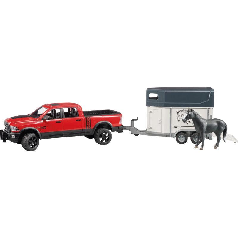 02501 Bruder RAM 2500 Power Wagon mit Pferdeanhänger und 1 Pferd Profi Serie