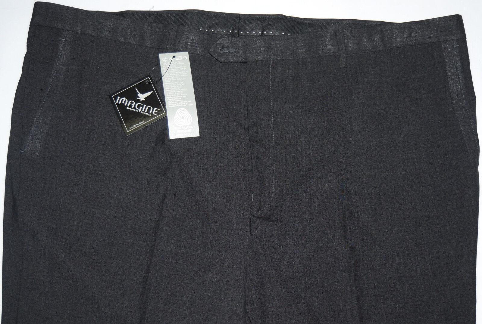 Pantalone uomo taglie forti classico fresco lana lana lana dalla 53 alla 75 grigio scuro 487b6f
