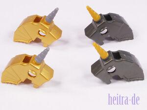 LEGO - 4 x Pferde - Helm mit Horn / Einhorn / Unicorn / 89524 89522 NEUWARE