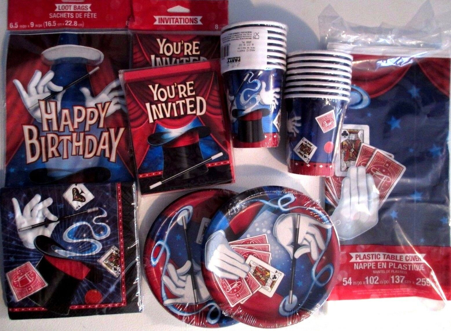 MAGIC Party Magician Birthday Party Supply DELUXE Kit w  Loot Bags & Invitations