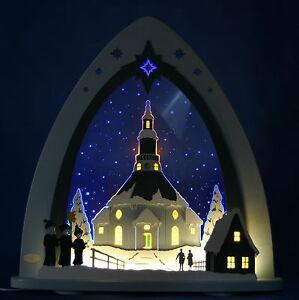 LED-Schwibbogen-Lichterspitze-Seiffener-Kirche-Seiffen-Weigla-Erzgebirge-Neu