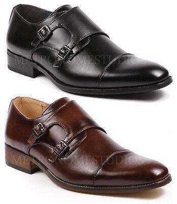 Metrocharm ML-1005 Men/'s Leather Double Monk Strap Slip On Loafers Dress Shoes