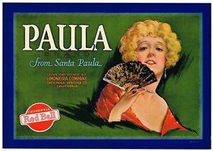 GENUINE CRATE LABEL SANTA CLAUS VINTAGE SANTA PAULA VENTURA CALIFORNIA C1930 N33