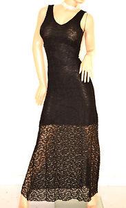 ABITO-LUNGO-donna-NERO-vestito-elegante-PIZZO-ricamato-da-cerimonia-da-sera-E120