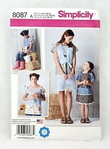Simplicity-8087-mother-daughter-matching-pullover-dress-top-child-3-8-adult-6-24