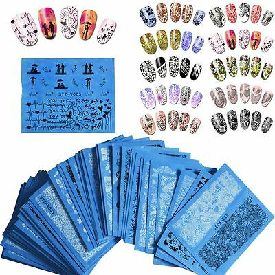 48 Sheets  Manicure Mixed Water Transfer Lace Flowers Nail Art Stickers Decals