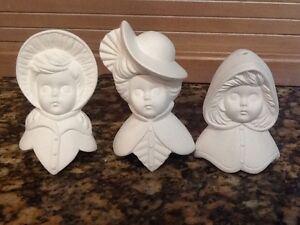 Ceramic bisque 3 sugarplum girls victorian ornaments 4 5 quot tall ready