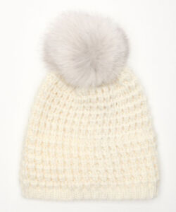 793f36382e7 KYI KYI CANADA Fox Fur Pom Pom Winter Hat White Blue R607 BNWT