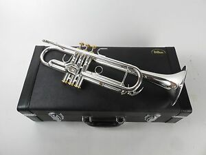 Details about Dillon Music Bb Silver Plated Trumpet Gold Trim with Case,  Mouthpiece [2121302]