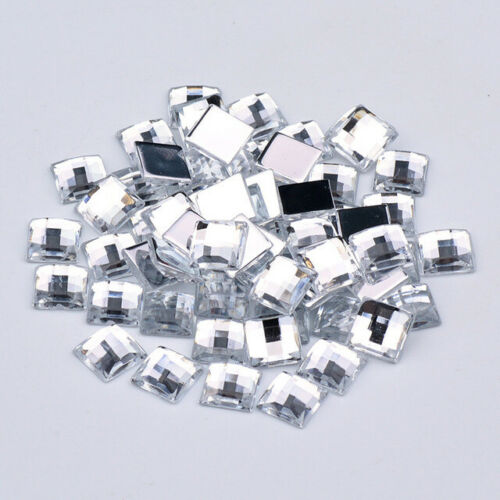 Cristales Flatback Pedrería Pegamento En Acrílico Piedras Cuadrado 14 mm Claro