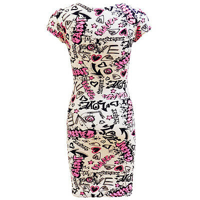 GIRLS KIDS GRAFFITI COMIC PRINT MIDI SKATER DRESS 7 8 9 10 11 12 13 YEARS