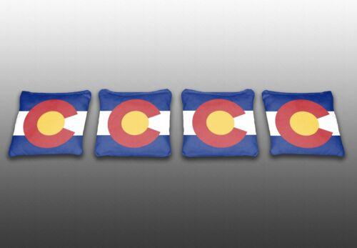 Corn Toss Baggo Colorado State Flag Specialty Custom Cornhole Bags Set of 4