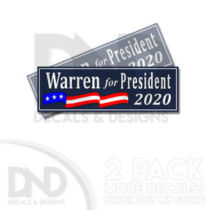 Warren-for-President-2020-ANTI-TRUMP-Bumper-Elizabeth-Sticker-Decal-2-Pack-BLUE