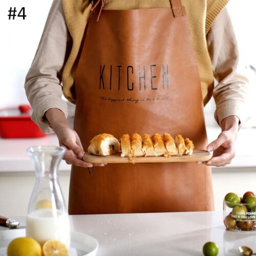 Oilproof Apron Chef Bib Aprons Unisex Faux leather Cooking Pinafore Workwear