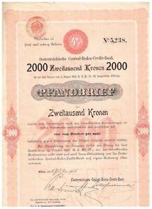 Öst. Central-Boden-Credit-Bank, Wien 1903, 2000 Kronen, gelocht, VF