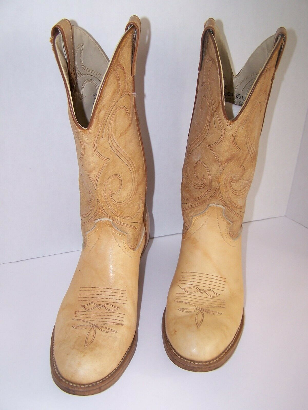 Laredo Mens Drew Western Cowboy Boots Leather Embroidery Cushioned Tan Size 9-US